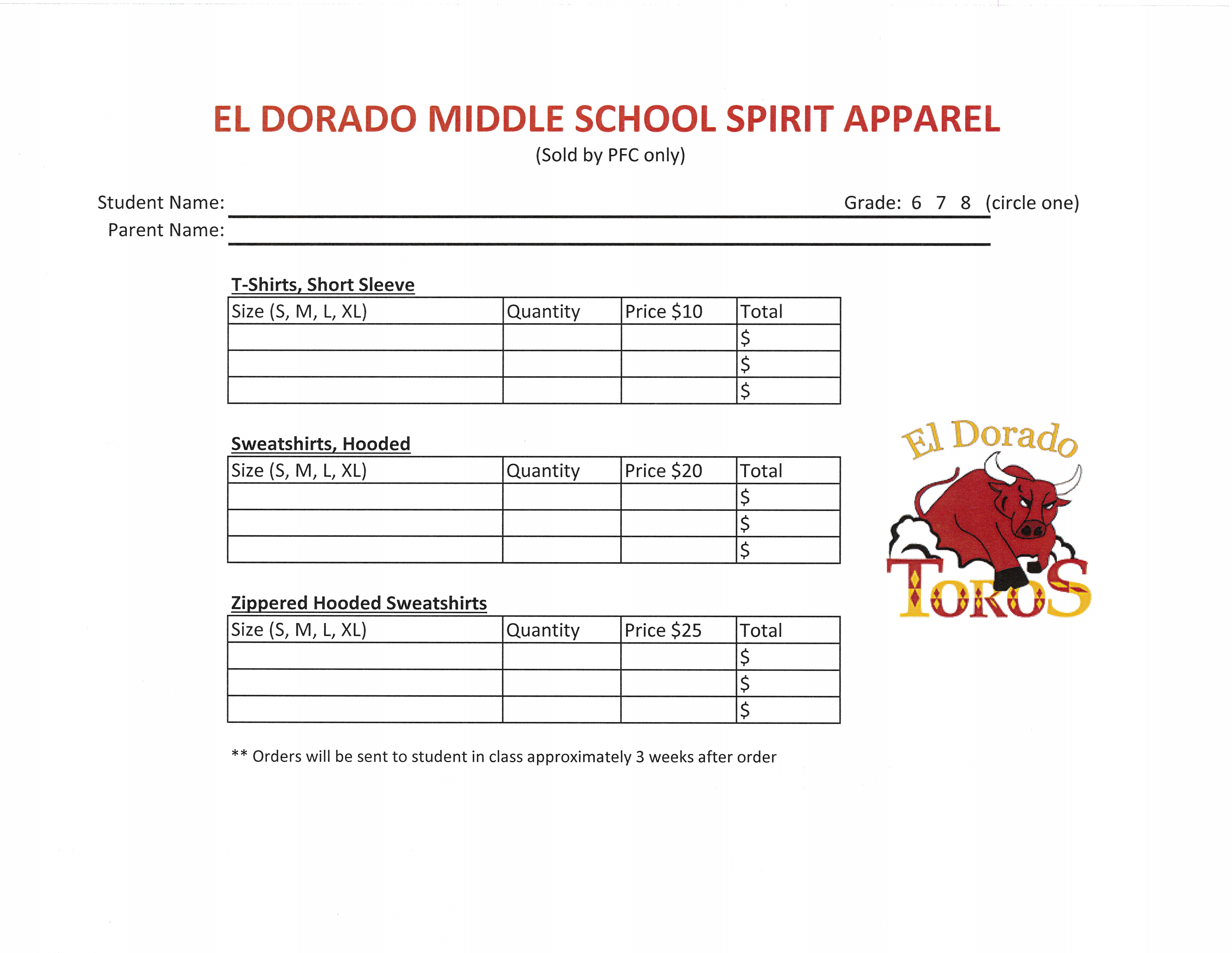 Toro Spirit Wear Order Form